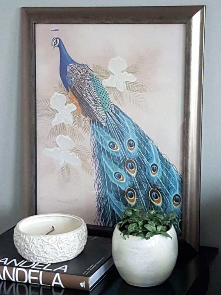 Framed Richard Montanbault Large Peacock Print