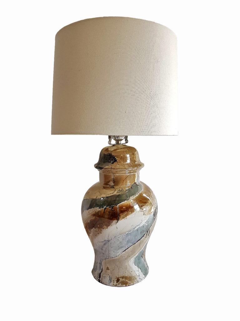 Mid-century Modern Drip Glaze Ceramic Ginger Jar Table Lamp