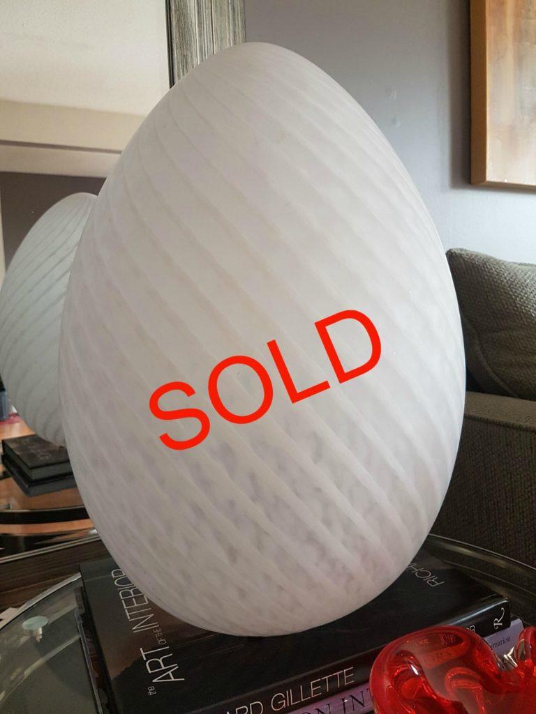 Swirled Murano Glass Egg Shaped Lamp